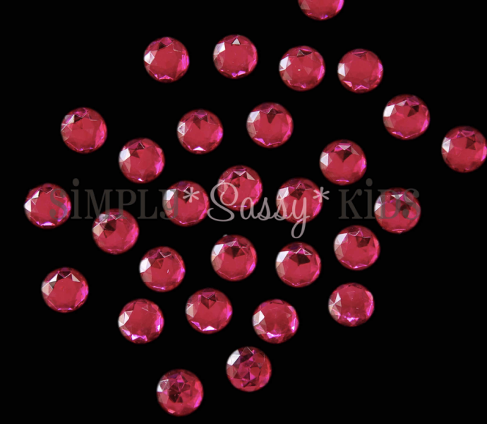25 Hot Pink 20mm Fully Faceted Acrylic Rhinestones