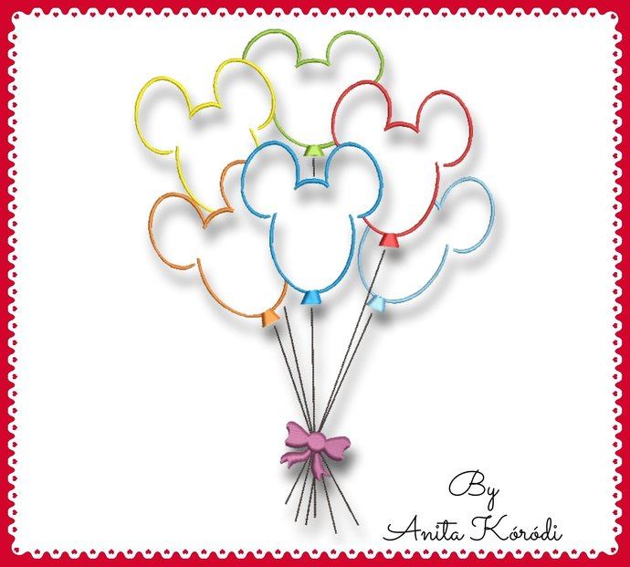 Mickey Mouse Balloons Embroidery Machine Designs Happy Birthday Instant Digital
