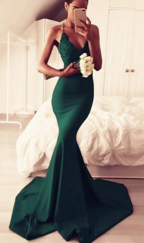 Elegant Satin Mermaid Gowns Featuring Lace Appliques Halter With Open Back