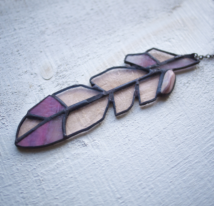"""Loved,"" Stained Glass Meditation Feather with Pink Lace Agate"