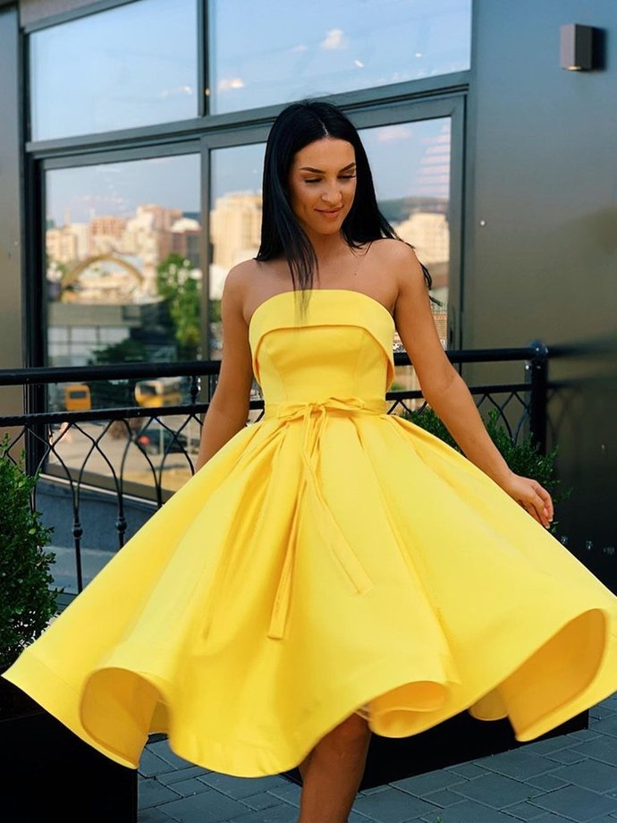 Short Strapless Pink Yellow Prom Dresses, Short Pink Yellow Formal Homecoming
