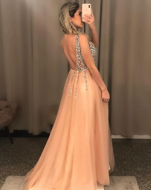 Sexy Sheer Tulle Beaded Long Prom Dresses with Side Slit 1269