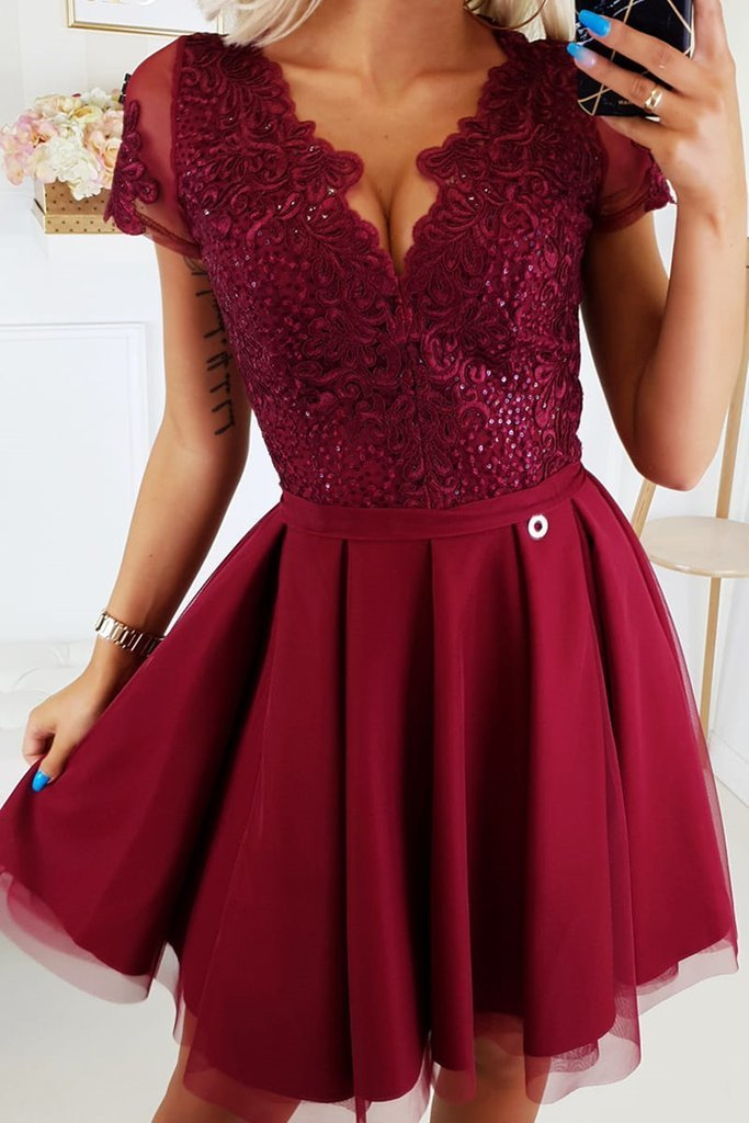 Short Sleeves Burgundy Lace Prom Dresses, Short Sleeves Burgundy Lace Formal