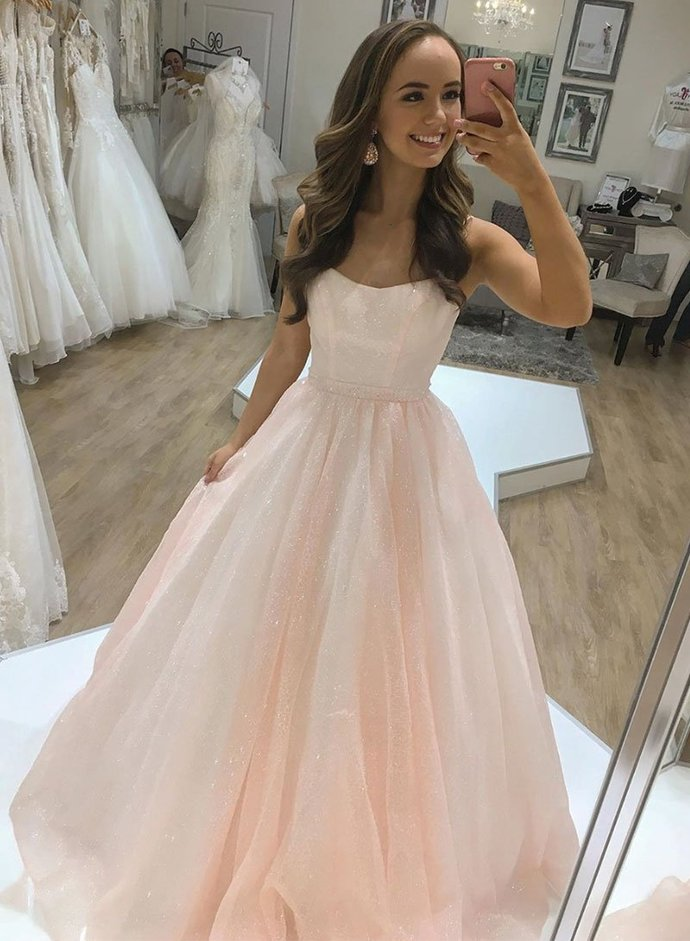 Charming Strapless Pink Prom Dress, Pink Formal Evening Gown