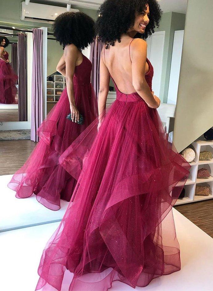 Stylish Tulle A Line Backless Long Prom Dress, Burgundy Evening Dress