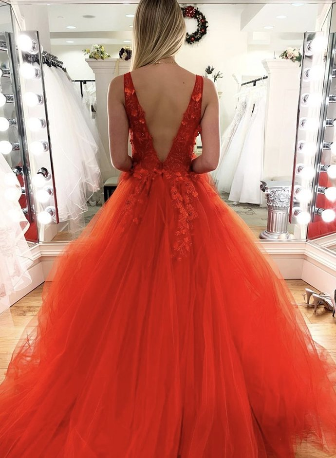 Charming V neck Appliques Tulle Ball Gown Prom Dress, Formal Evening Dress,