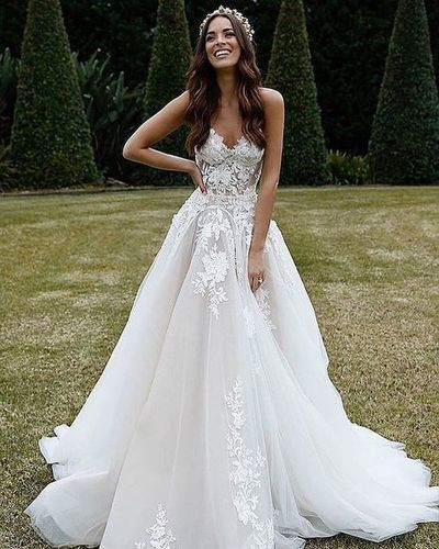 Elegant Spaghetti Straps Sweetheart White Tulle Lace Wedding Dresses, A Line