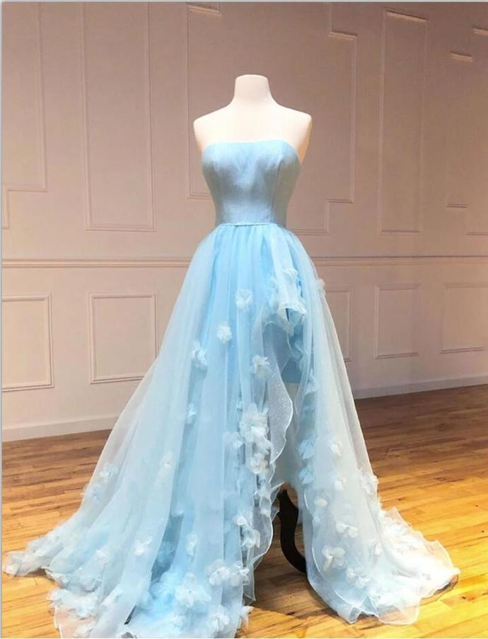 Light Blue Strapless Tulle Prom Dress Evening Gown