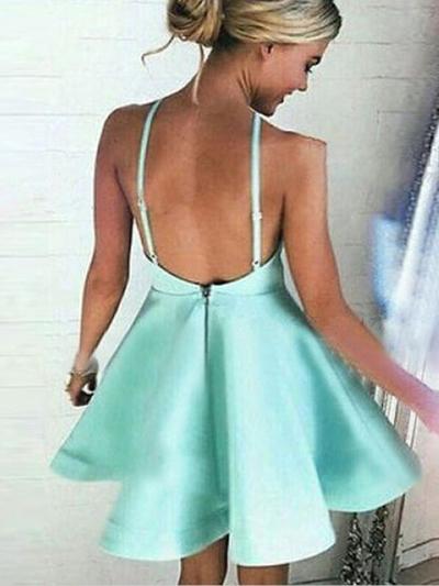 Cute Mini Mint Green Satin Short Prom Dress Homecoming Dress