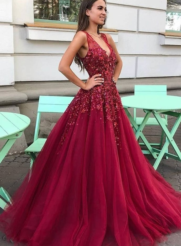 Charming V neck Tulle Beaded A Line Prom Dress, Red Evening Dress, Formal Gown