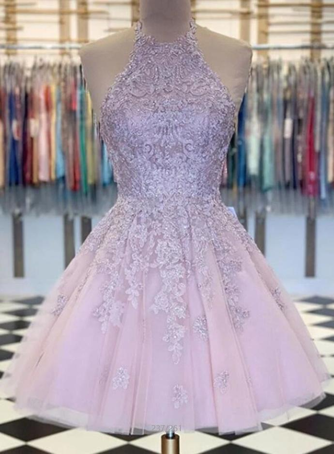 Halter Pink Tulle Prom Dress, Appliques Prom Dress, Short Homecoming Dresses