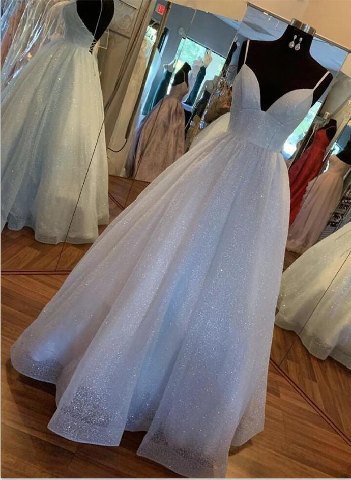 Fashion V neck Spaghetti Straps Blue A Line Prom Dress, Blue Evening Dress