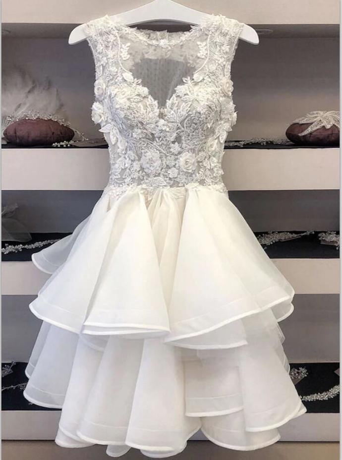 Custom Made White Appliques Prom Dress, Tulle Short Homecoming Dress