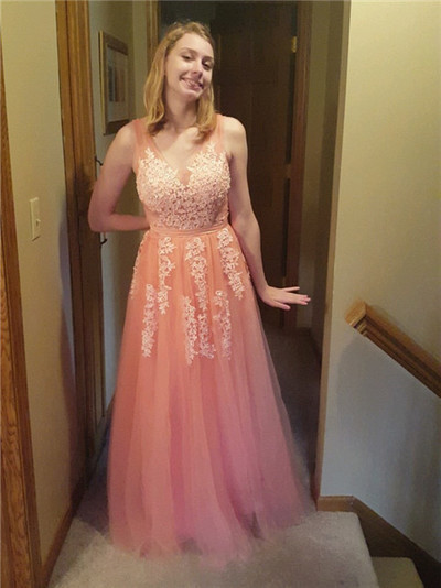 A-Line V Neck  Orange Tulle Long Prom Dresses, Appliques Homecoming Dresses