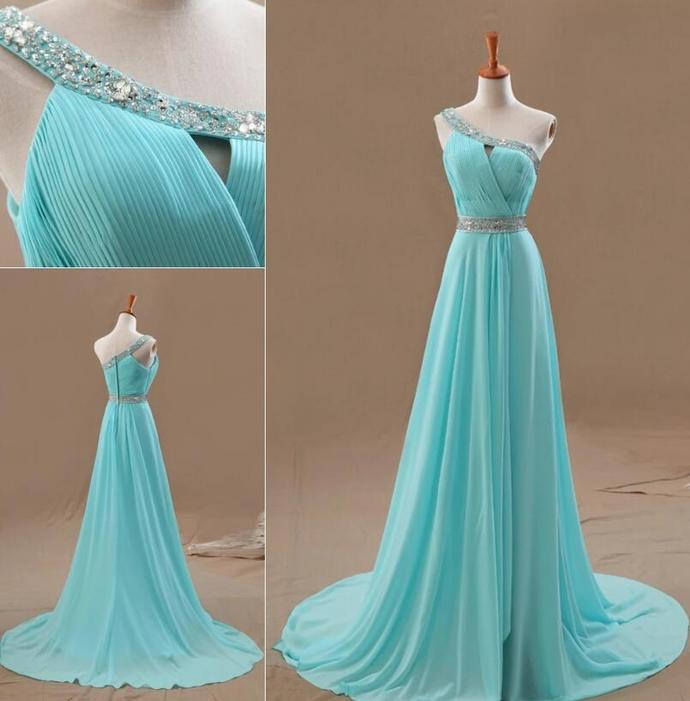 Mint Blue Chiffon One Shoulder Beaded Long Prom Dress, Formal Gown
