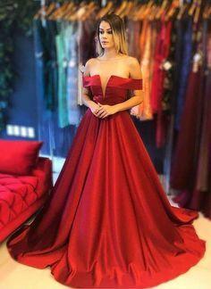 Burgundy satin off shoulder long A line evening dress with sleeve
