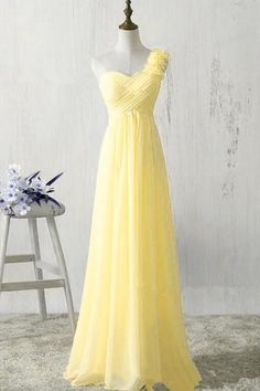 One Shoulder Yellow Chiffon Prom Dresses