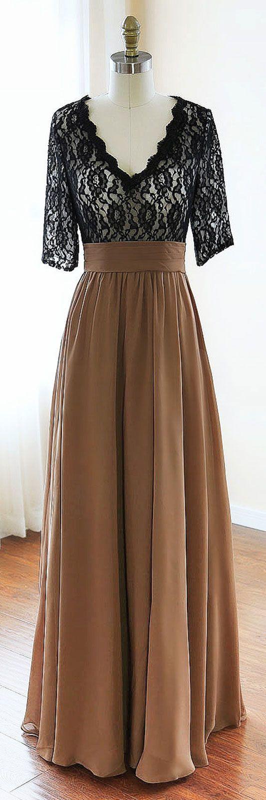 black v neck chiffon lace long prom dress, black evening dress, lace bridesmaid