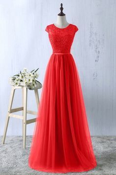 Gorgeous Cap Sleeves Lace Prom Dress Long Tulle Zipper Evening Gowns