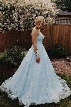 Elegant Strapless A-Line Light Blue Long Prom Dress