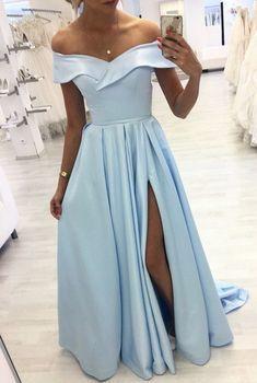 light blue prom dresses 2020 satin off the shoulder prom dresses 2020