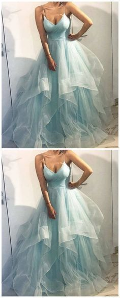 Tulle Layered Long V Neck Prom Gown, Formal Dress