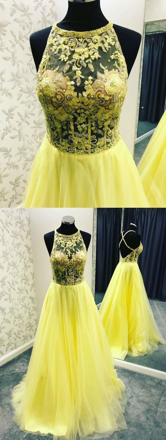 Backless Yellow Long Prom Evening Dress with Pockets