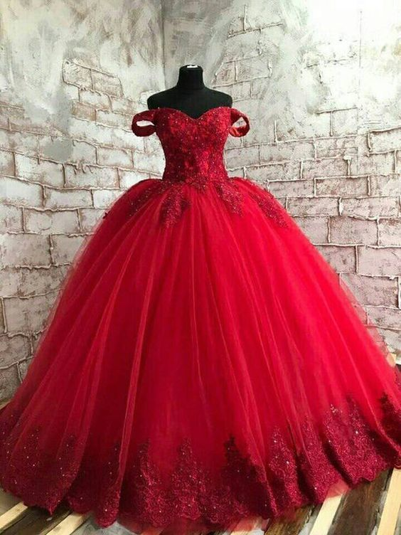 Red Prom Dress, Gothic Prom Dress, Red Lace Prom Dress