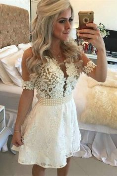 White Homecoming Dress,Lace Homecoming Gown,Tulle Homecoming Gowns,Ball Gown