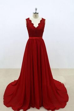 Burgundy v neck lace chiffon long prom dress, burgundy bridesmaid dress