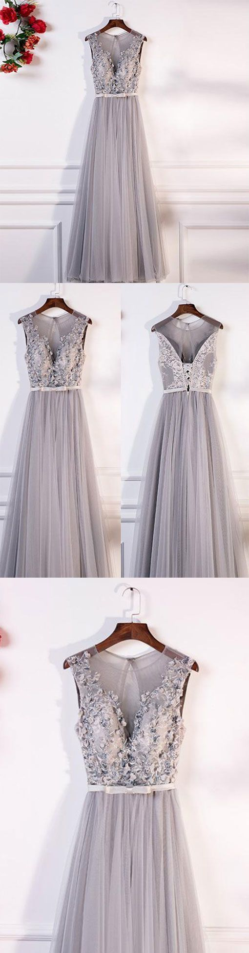 Gray round neck lace tulle long prom dress, gray evening dress, gray bridesmaid