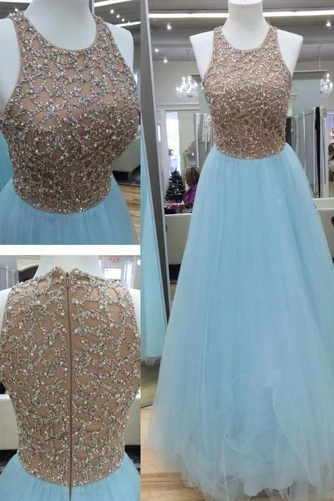 Light blue organza sequins round neck long evening dresses