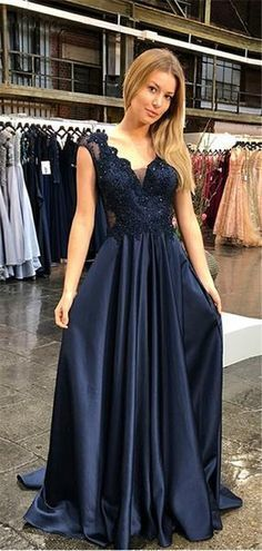 A-line V-neck Lace Cap Sleeves Beading Prom Dresses