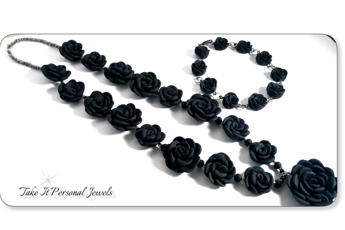Black, Silver Flower Handmade Jewelry Set Bracelet Necklace Floral Jewelry Gift