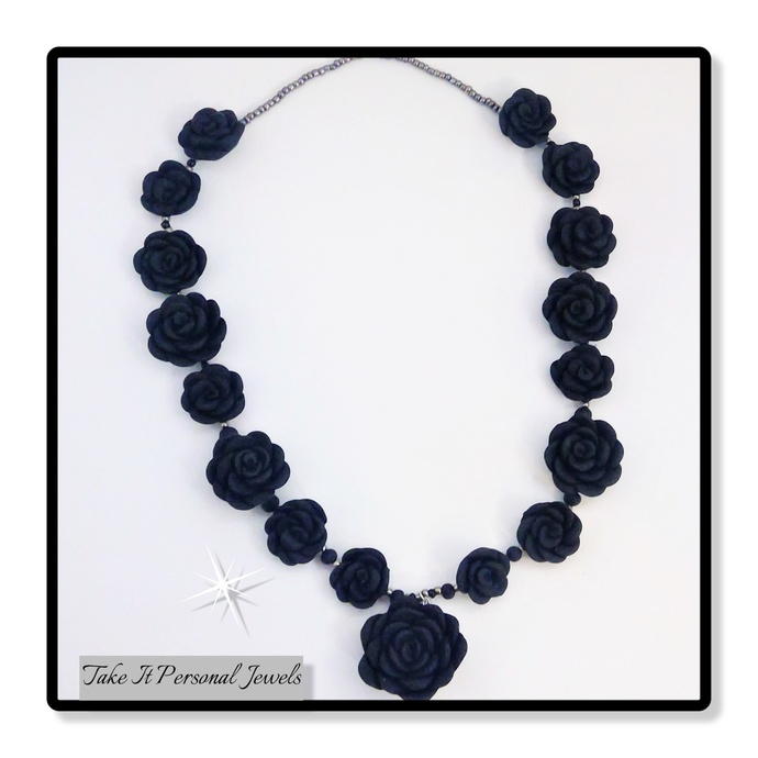 Black, Silver Flower Handmade Jewelry Set Bracelet Necklace Floral Jewelry Gift