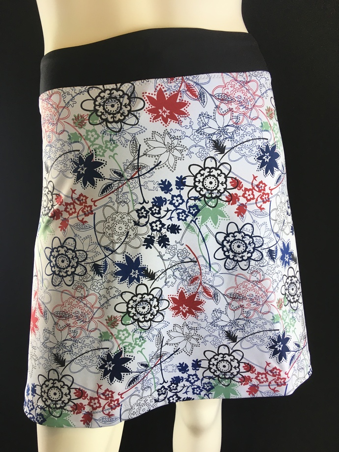 Doodles in Blue/Black/Green/Red Skirt Creamy Medium Weight Knit Fabric with