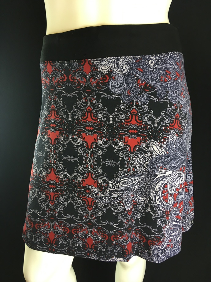 Cherry Red/Grey/Black Asymmetrical Silky Stretch Skirt for Yoga or Office