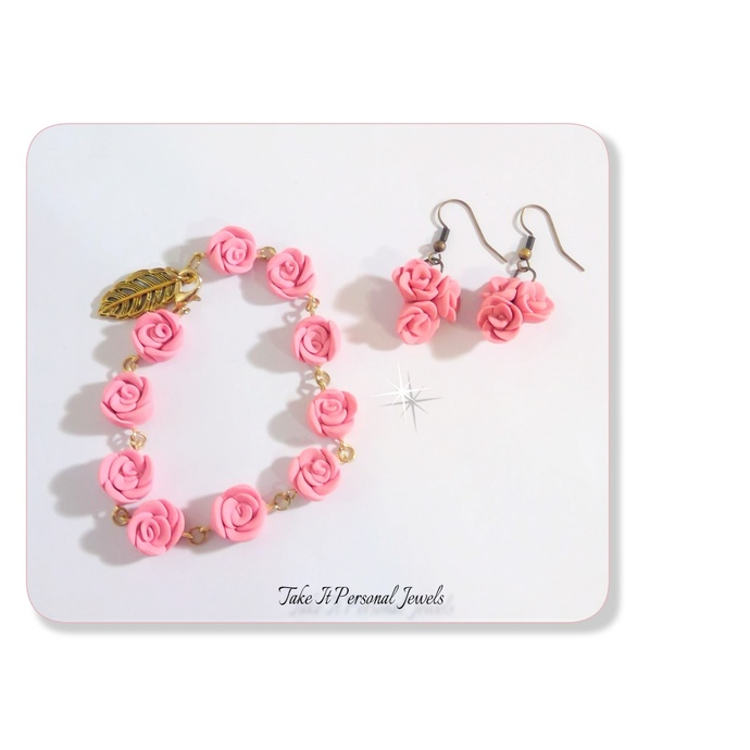 Womens Pink Flowers Bracelet Earring Jewelry Set Floral Jewelry Handmade Gold
