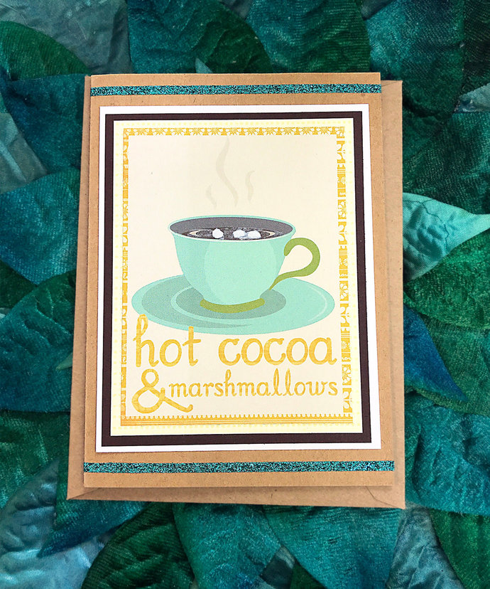 Hot Cocoa & Marshmallows Greeting, Note Card, Warm Wishes, Birthday, Chocolate,