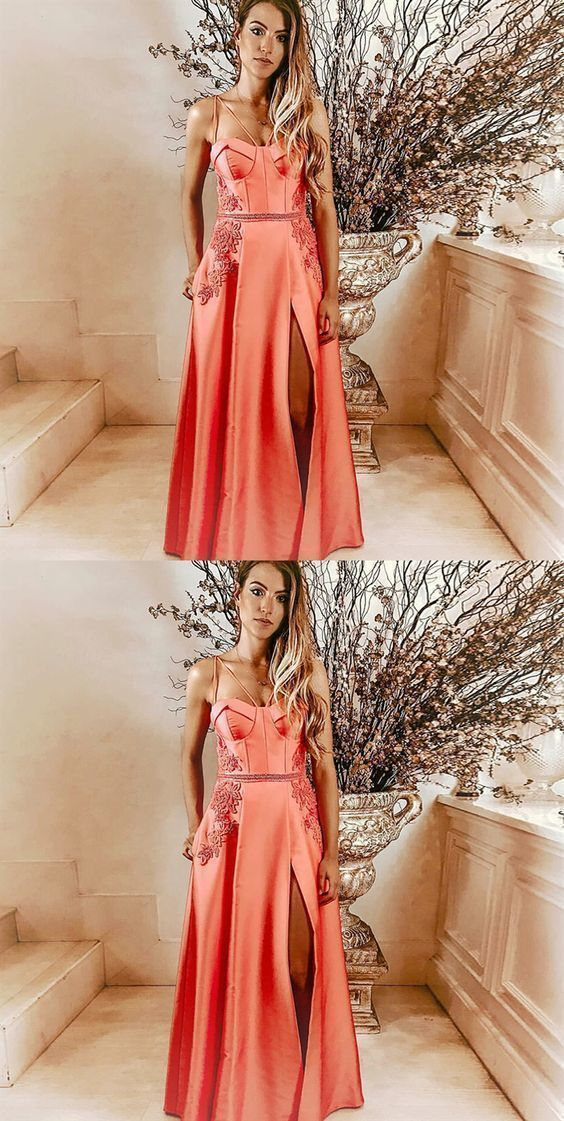 A-Line Spaghetti Straps Pink Long Prom Dress with Pockets Appliques F6776