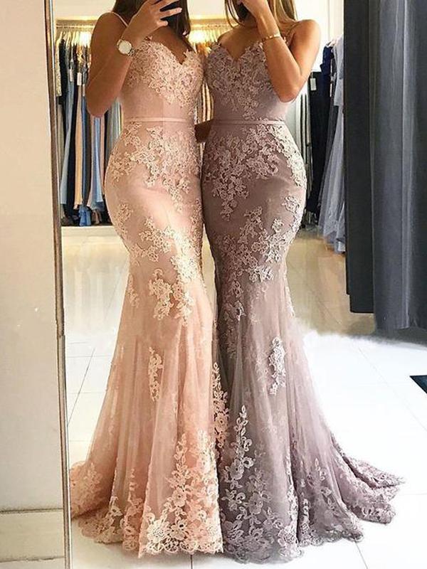 Sweetheart Spaghetti Straps Lace Mermaid Floor Long Custom Evening Prom Dresses