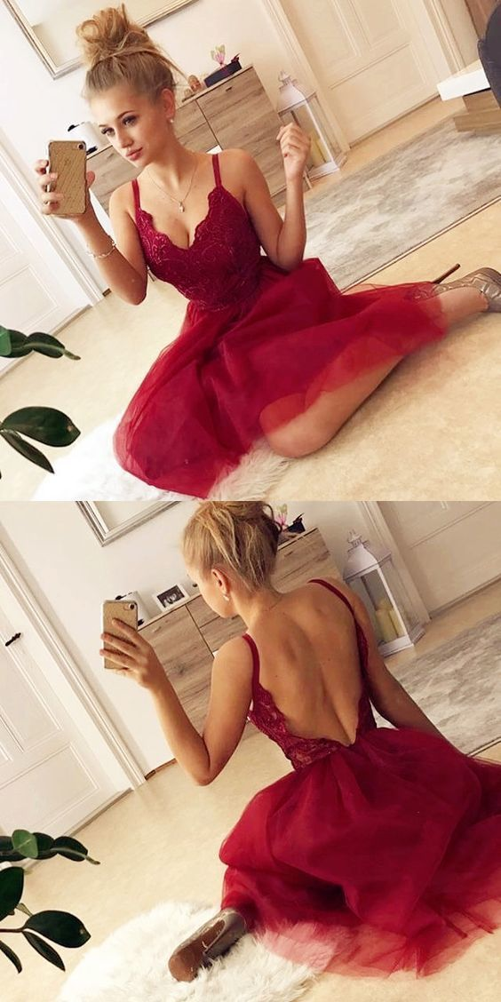 Bright Red Knee Length Party Dress H6931