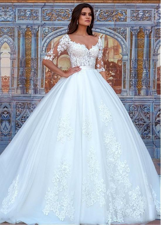 Half Sleeves Wedding Dress with Lace Detailing,Wedding Dresses W6376