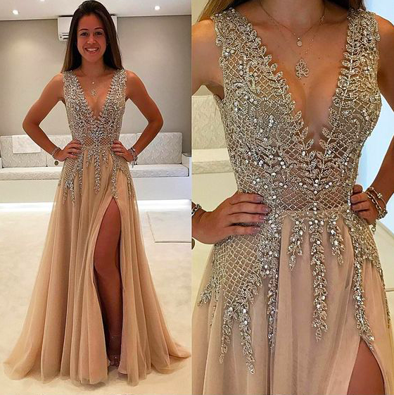 champagne beaded prom dresses long v neck tulle crystals luxury elegant prom