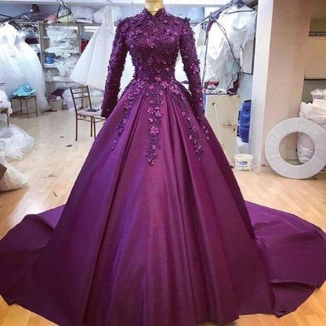 purple lomg prom ball Dress Long Sleeve Muslim