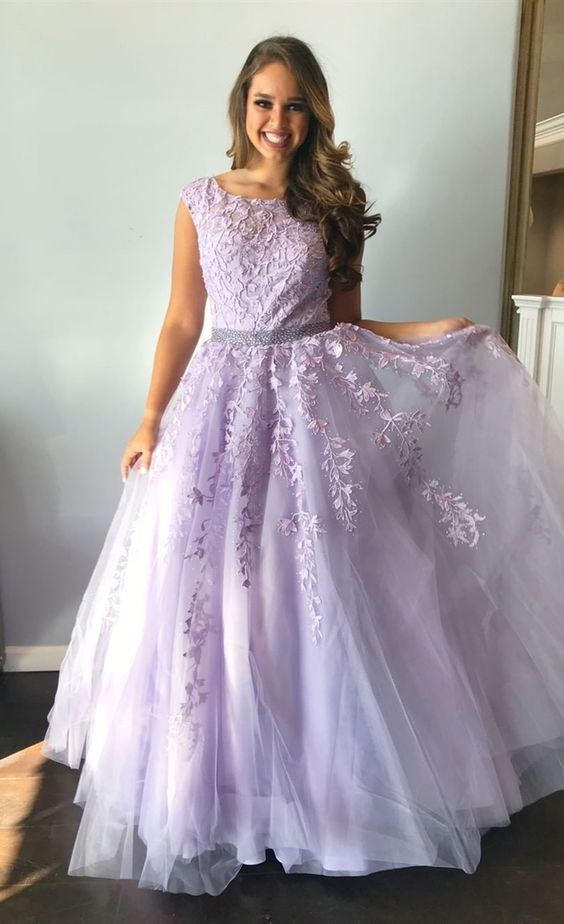 Formal Long Prom Dresses, ball gown graduation party dresses, lilac lace prom