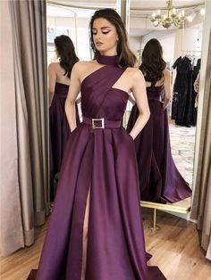 A-line One-shoulder High-neck Split Prom Dresses With Pockets