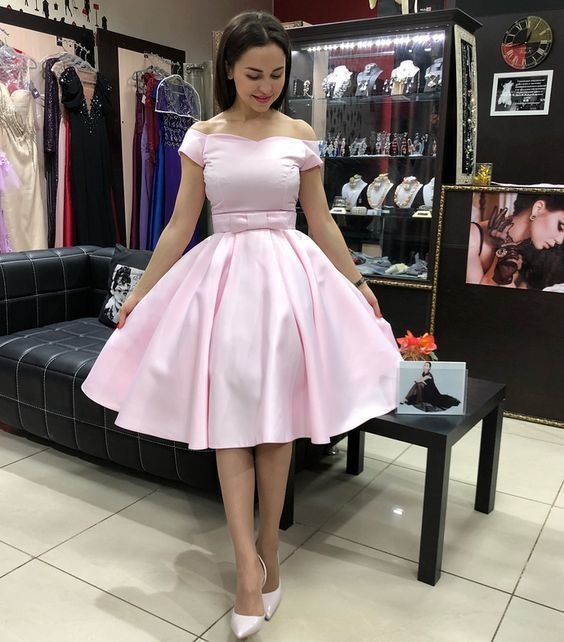 Princess Off the Shoulder Short Pink Party Dress, Elegant Prom Dress