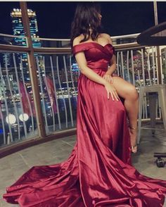 Gorgeous Off the Shoulder Burgundy Long Prom Dress