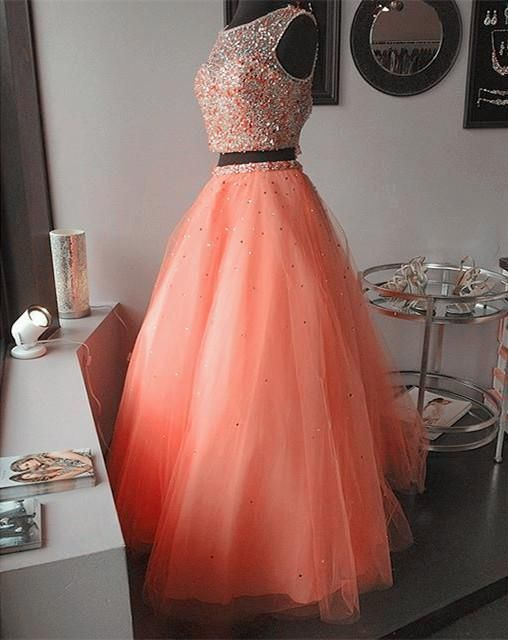 Modest Prom Dress,coral pink two piece ball gowns quinceanera dresses with